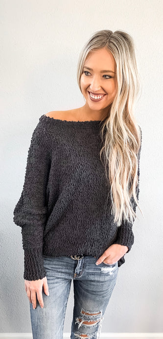 Popcorn Bat Wing Sweater Top