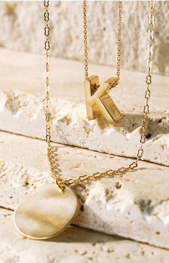 Two Layer Initial Charm Necklace