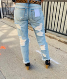 Heavy Distressed Mid Rise Boyfriend Jean