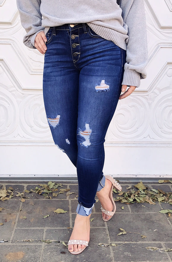 Josie Dark Distressed Denim
