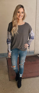 Grey Multi Colored Puff Sleeve