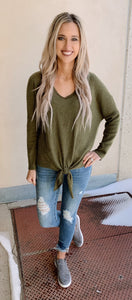 Olive Thermal Knot Top