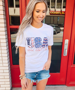 White USA Land That I Love Graphic Tee