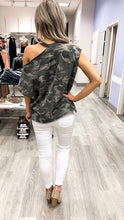 Camo Shoulder Cut Out Tshirt