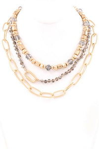 Layered Chain Beaded Necklace