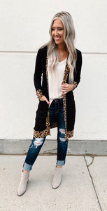 Long Sleeve Pocket Cardigan with Cheetah Trim