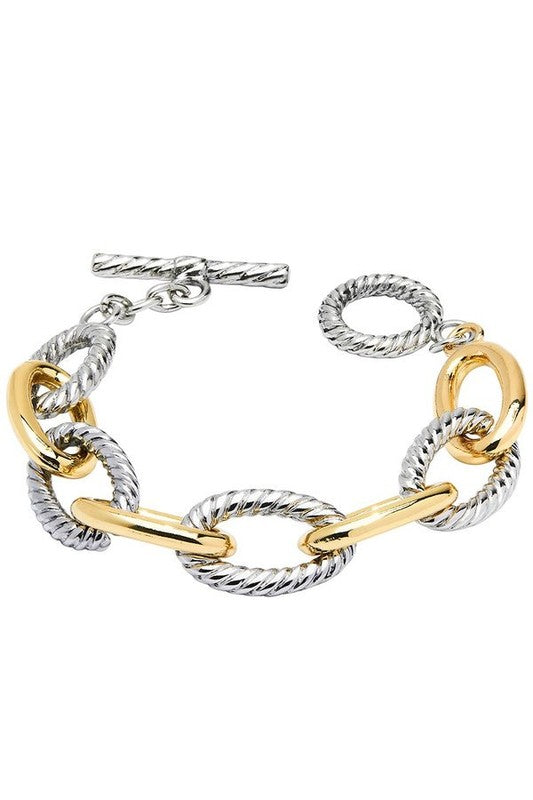 Gold and Silver Oval Link Bracelet