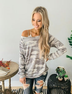 Ice Grey Camo Long Sleeve Pullover