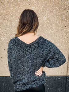 Vneck Knit Sweater with Puff Sleeve