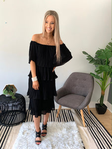 Black Off Shoulder Pleated Woven Dress