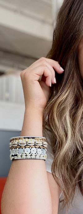 Brown and Gold Seashell Cuff