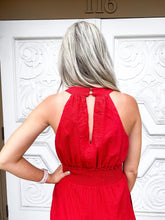 Red Plunge Jumpsuit