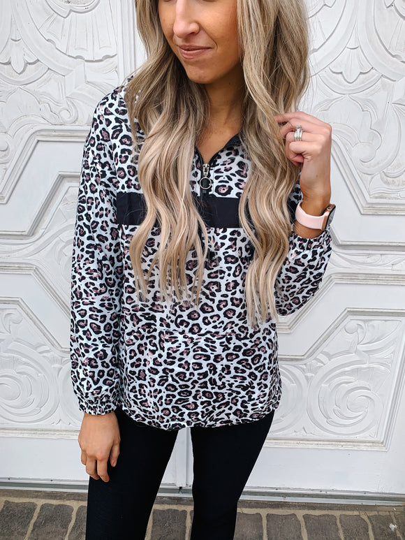 Leopard Quarter Zip Hooded Windbreaker