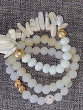White Beaded Bracelet with Stone and Gold Accents