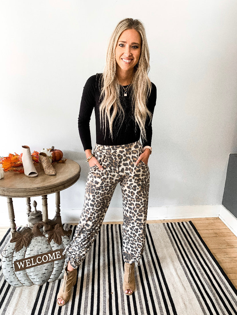 Soft Leopard Pants with Tie Bottom Side Slit
