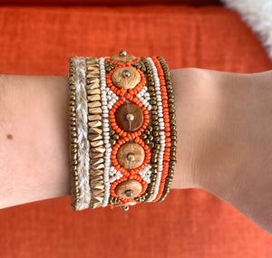 Orange and Gold Beaded Cuff