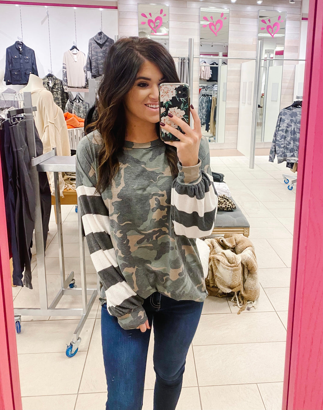 Camo and Stripe Top