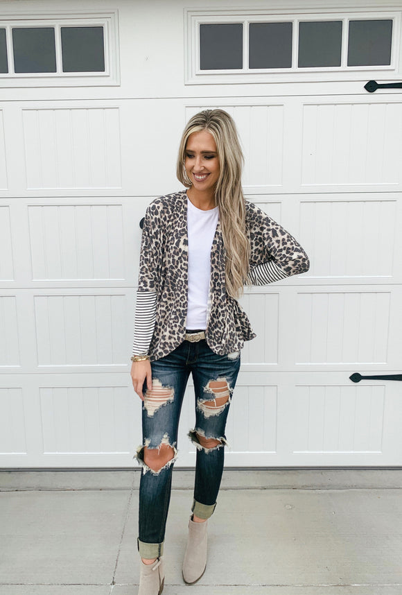 Taupe Stripe Animal Print Cardigan