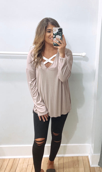 V Neck Dolman With Side Slits