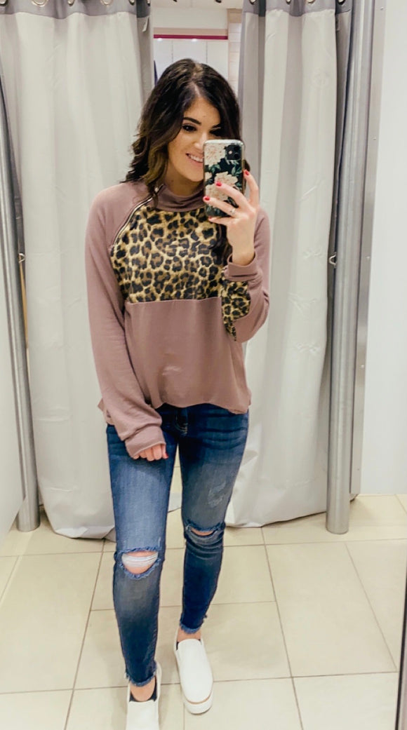 Mocha Leopard Side Zip Top
