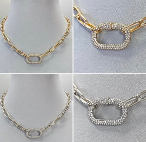 Rhinestone Oval Chain Necklace