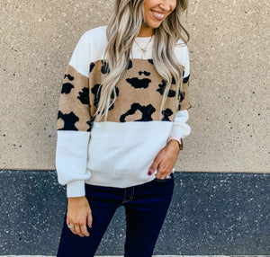 Ivory Animal Print Sweater