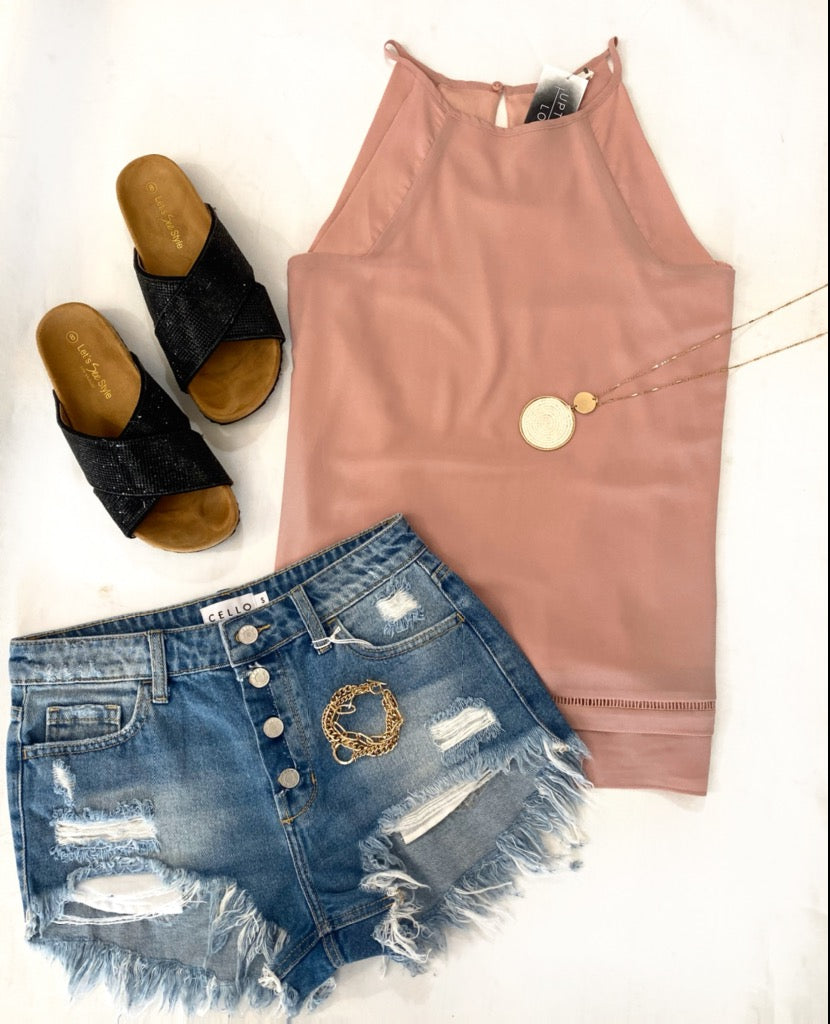 Mauve Tank with Cutout Hem Detail