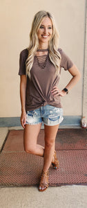 Taupe Ladder Tshirt Top