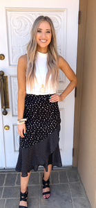 Black Polka Dot Ruffled Woven Skirt