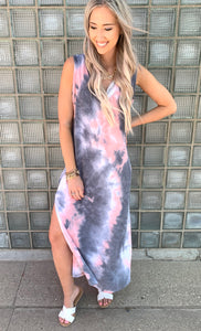 Grey/ Pink Tie Dye Maxi Dress