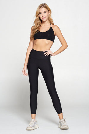 Amber - Plain Black Brushed 7/8 Legging (RW) Activewear