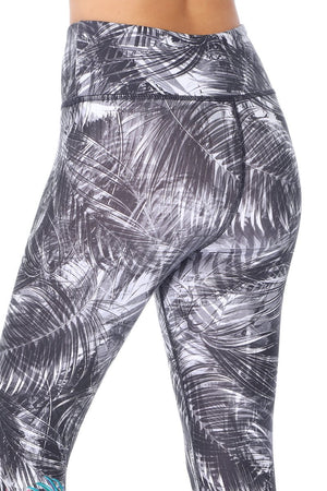 Women's Legging with Palm Tree Leaves and Tropical Flowers