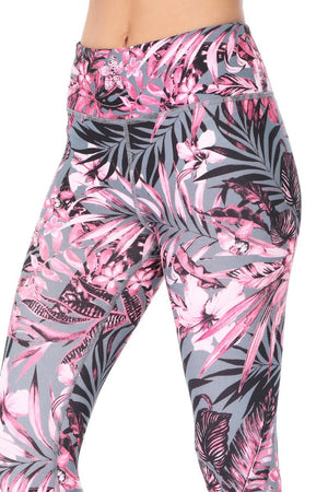 Women's Leggings Neon Pink and Black Palm Tree leaves with Charcoal base