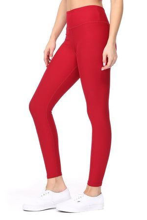 Amy - Plain Crimson Brushed 7/8 Legging - evcr2