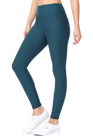 Amy - Plain Leafy Teal Brushed 7/8 Legging - evcr2