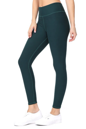 Amy - Plain Pine Green Brushed 7/8 Legging - evcr2