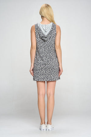 Athena - Charcoal Polka Dot Dress Tank Hoodie Tops
