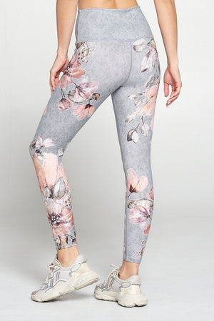 Women's Light Grey legging with coral and white flowers