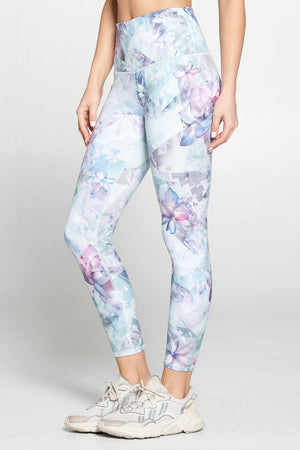 Brianna - Blue Floral Abstract Glass Full-Length (HW) Activewear