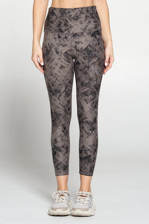 Brianna - Brown Tie Dye Effect Sequin Sand Full-Length (HW) Activewear