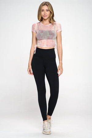 Cassidy - Mauve Linear Mix Mesh Cinch Side Crop Tee Activewear