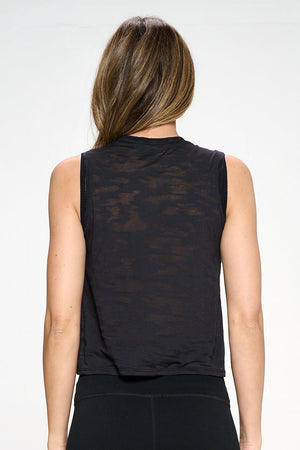 Cece - Black Burnout Camo Tank Activewear