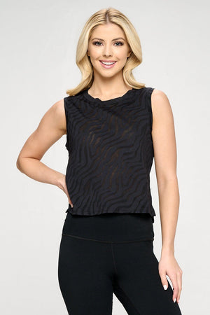 Cece - Black Zebra Burnout Tank Activewear
