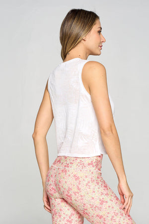 Cece - White Burnout Palms Tank Activewear