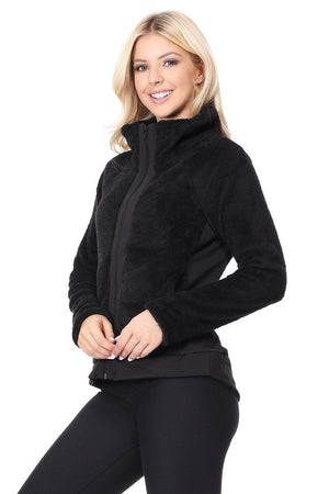 Claudia - Black Zip Up Jacket w Pockets Activewear