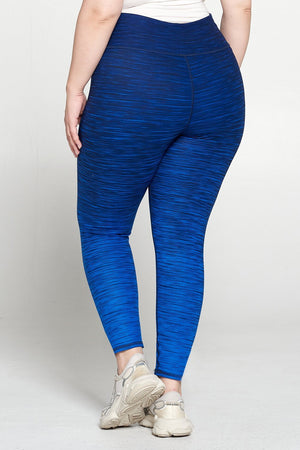 Plus Size Dark Royal Blue Ombre 7/8 Legging