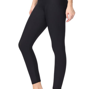 Gisele - Plain Black Brushed Comfort Fit Legging 7/8 (High-Waist)