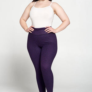 + Grape Leopard 7/8 Legging - Plus Size