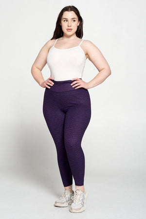 Plus Size Grape Leopard 7/8 Legging