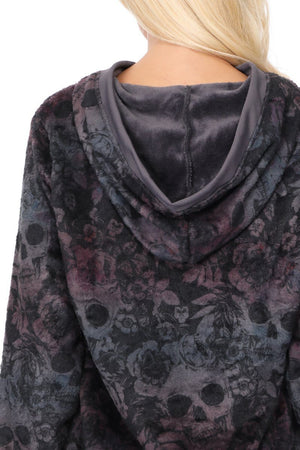 Isabella - All Over Skulls Hoodie w Pockets